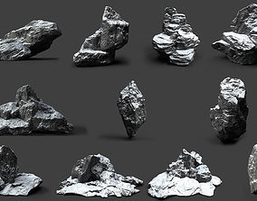 Snowy Rock Collection 004 3D
