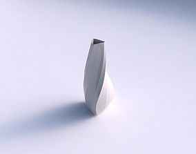 3D print model Vase puffy tipped triangle with bands