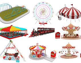 3D model Amusement Park Equipment 9 Pieces