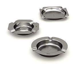Metal Ashtray Set 09 3D