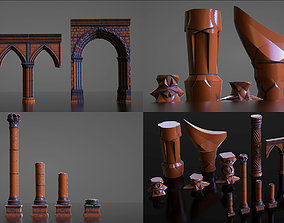 palace Pillars Set - Stone Fantasy Sci-Fi 3D model