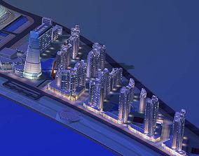 3D Urban Designed City Layout with Stadium