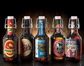 Set of Five Beer 3D model top