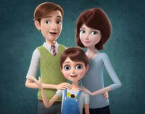 Cartoon Family Rigged V1 3D model