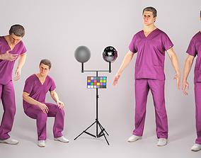 Animated surgeon in violet uniform walking 3D asset 3