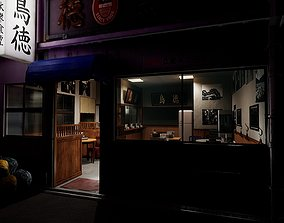 Old Japanese Restaurant Interior And Exterior 3D model