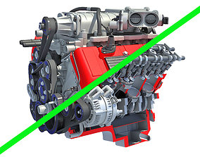 3D Full and Cutaway V8 Engine