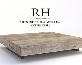 3D Restoration Hardware Aspen French Oak Metal Rail Coffee