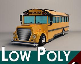3D model Low-Poly Cartoon School Bus