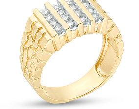 Gents Diamond Nugget Ring 30 3D print model