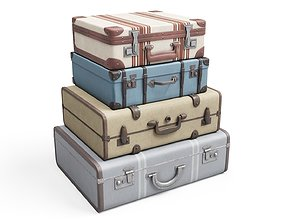 Set of Vintage Suitcases 3D asset
