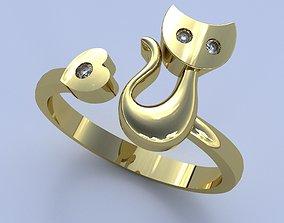 Kitten Ring gem 3D printable model