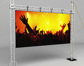Telebim scaffolding LED screen high 3D model