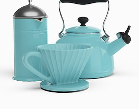3D Aqua Coffee Set