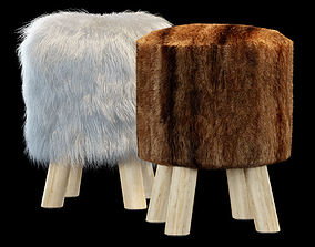 3D Faux Fur Stool