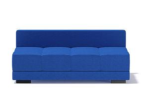 3D Blue Armless Sofa