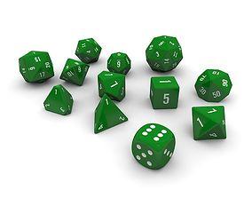 3D asset Polyhedral Dice Set - Green