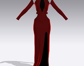 DRESS LONG VELVET RED 3D model