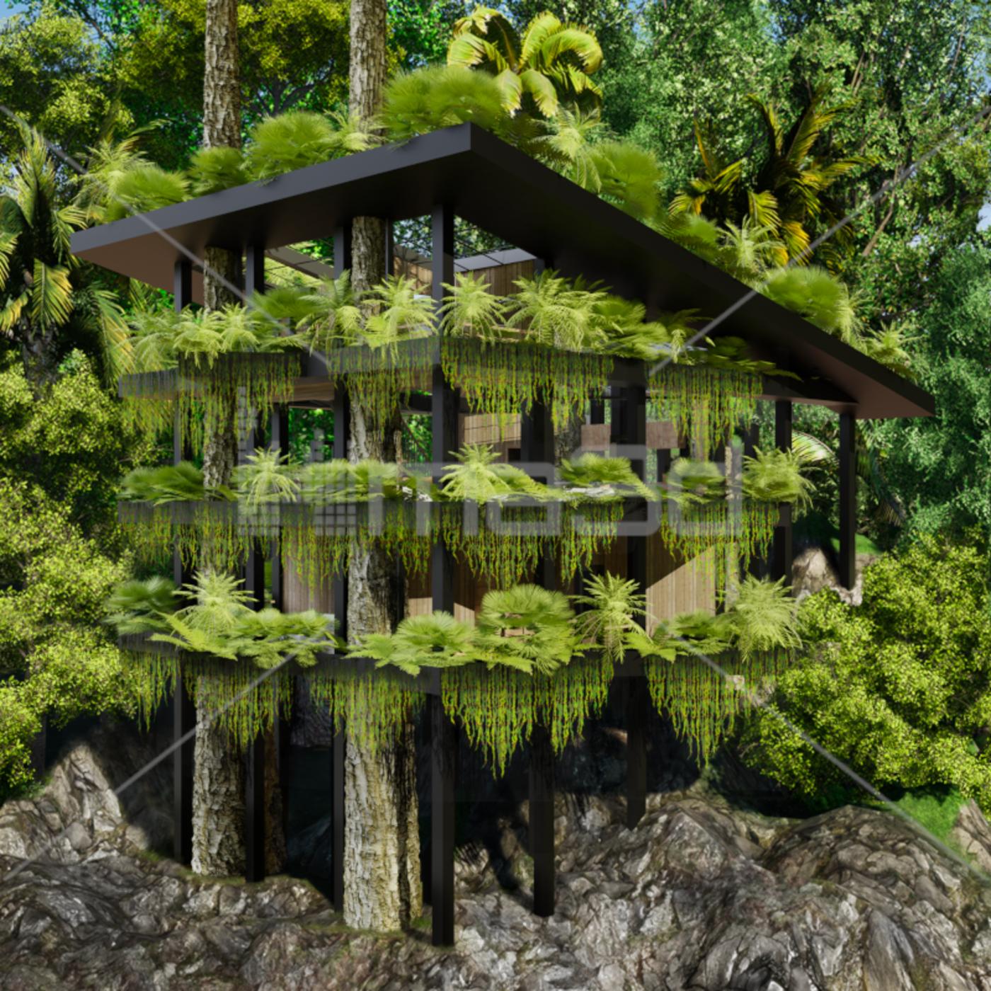 3D rendering of Tree house