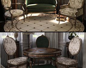 3D model Reupholstered for Vintage Furniture Iray