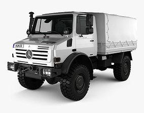 Mercedes-Benz Unimog U4000 Flatbed Canopy Truck 3D model