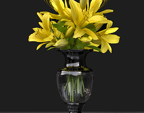 Yellow Lily Vase general decor for interior 3D model 1