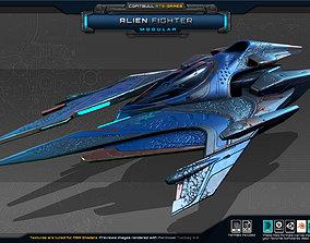 SF Modular Alien Fighter 3D asset