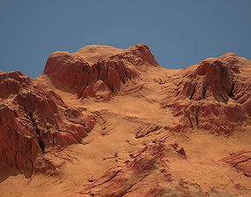 Tileable crossroad canyon with red rocks and sand 3D asset