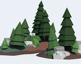 game 3D model low-poly Low Poly Tree Pack