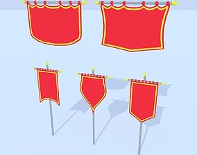 LowPoly Cartoon Banners 3D model
