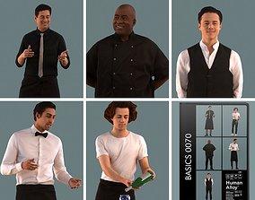 Set of 3D men waiters lunchroom
