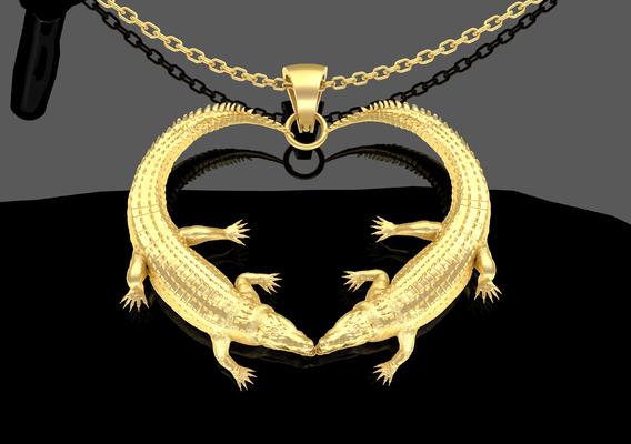 Crocodile Heart Pendant jewelry Gold 3D print model