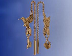 Hummingbird Luxury Gold Earrings 3D print model
