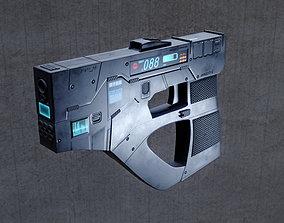 3D Futuristic sci-fi cyberpunk gun - pistol