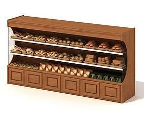 Wooden Retail Shelving Unit 3D model