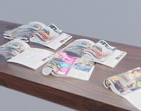 realistic collection of magazines 3D asset