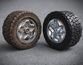 Off road tire and rim with and without dirt textures 3D
