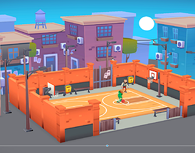 3D asset lowpoly city street pack buildings stylized