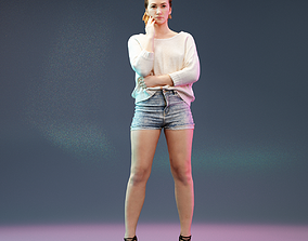 3D model Thinking Girl in Jeans Short and White