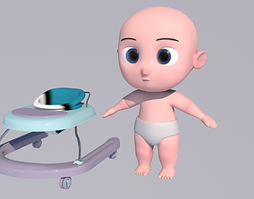 3D model Baby and walker character