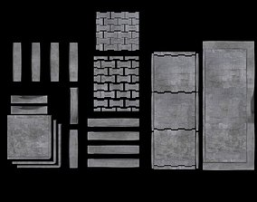 3D Set of pavement modular sett