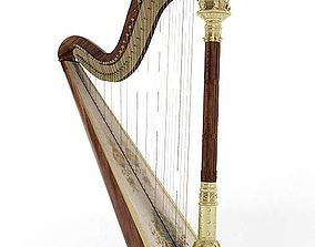 Musical Instrument Wooden Harp 3D