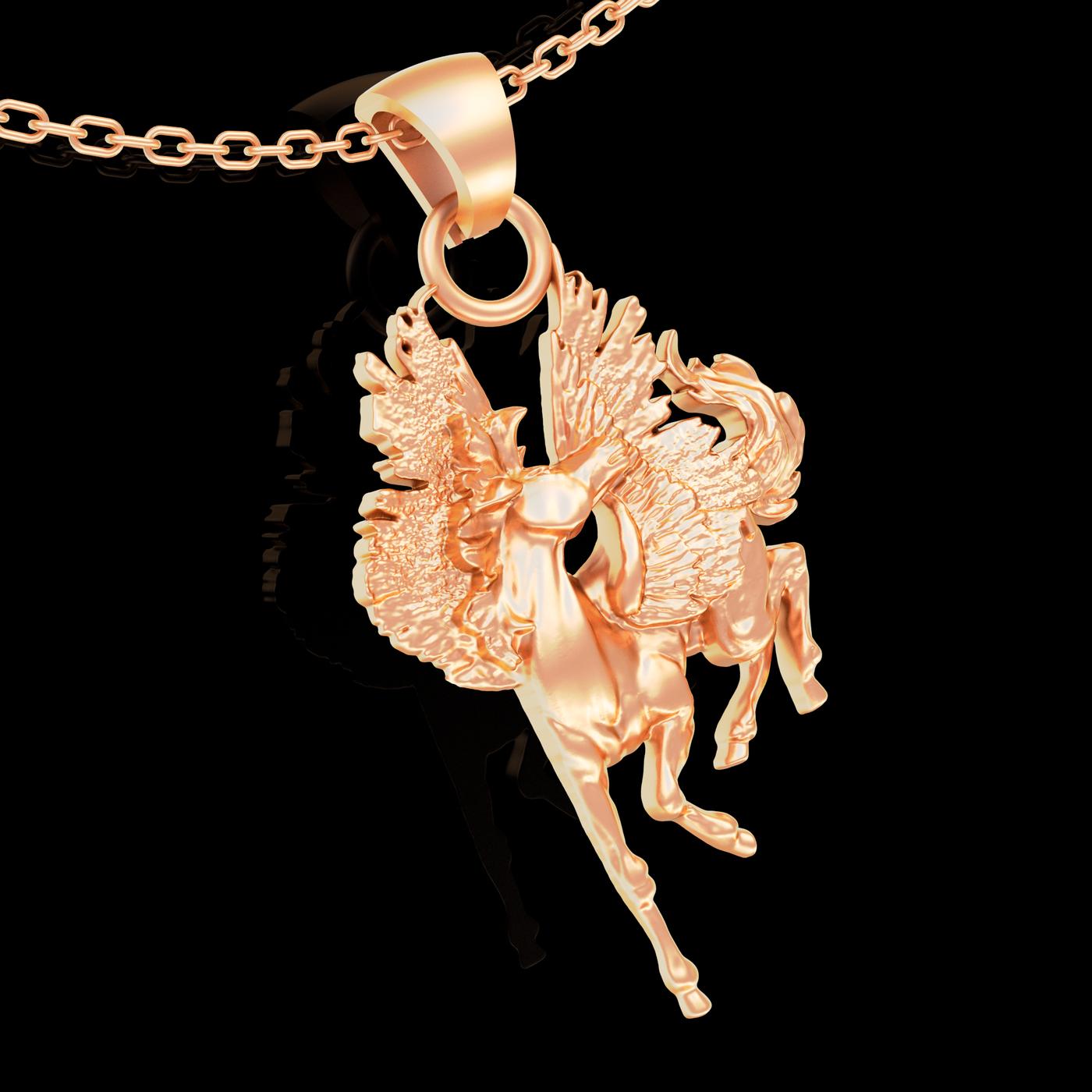 Pegasus Walking Pendant jewelry Gold 3D print model