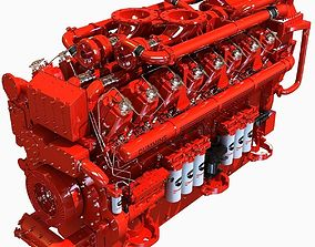 3D model Red Diesel Engine 16 Cylinders