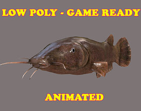 3D asset Low poly Electric Cat Fish Animated - Game