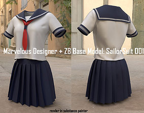 PBR Marvelous and ZB Base Model Japan Sailor Suit F001a