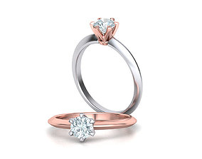 3D print model Solitaire 6claw Crown ring Half Carat