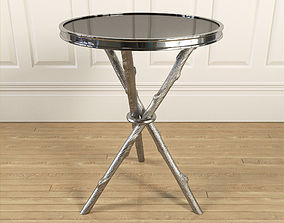 3D Coffee Table Silver Wood