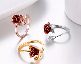 rose ring 3D printable model shining