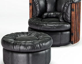 Isle DPalm Armchair and Ottoman by Pacific Green 3D